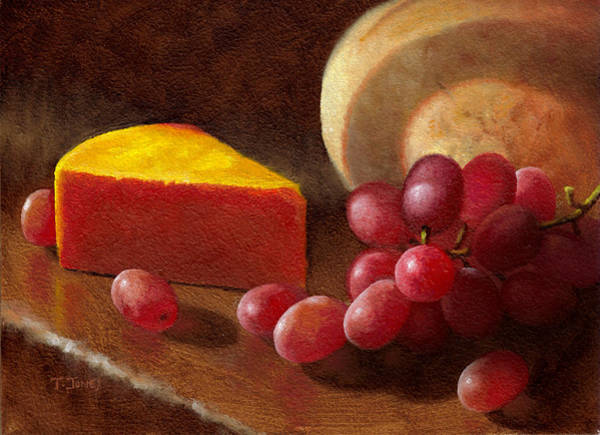 Wall Art - Painting - Cheese Wedge And Grapes by Timothy Jones