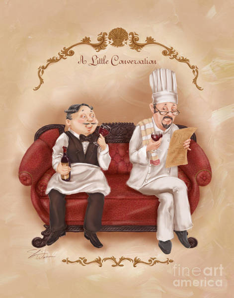 Wall Art - Mixed Media - Chefs On A Break-a Little Conversation by Shari Warren
