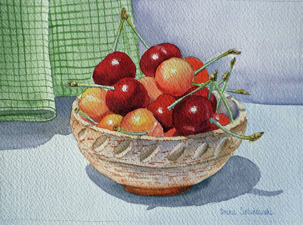 Ceramics Wall Art - Painting - Delicious Cherries by Irina Sztukowski