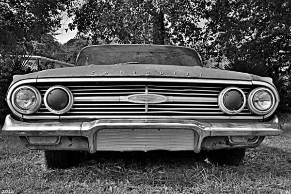 Photograph - Chevrolet Bel Air Black And White 2 by Lisa Wooten