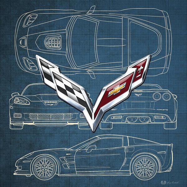 Autos Photograph - Chevrolet Corvette 3 D Badge Over Corvette C 6 Z R 1 Blueprint by Serge Averbukh