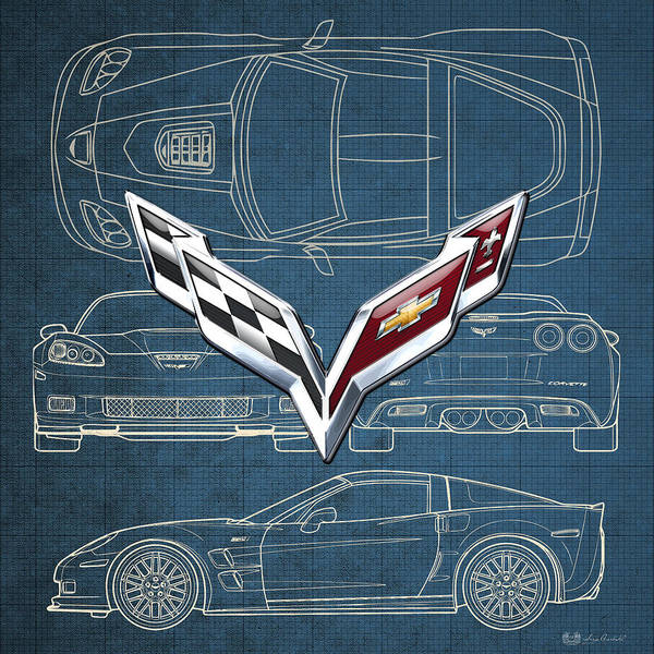 Wall Art - Photograph - Chevrolet Corvette 3 D Badge Over Corvette C 6 Z R 1 Blueprint by Serge Averbukh