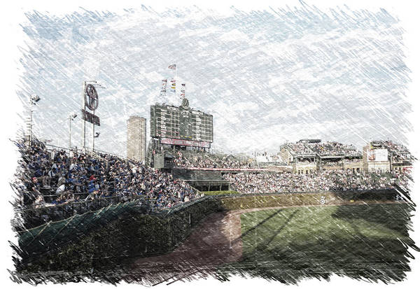 Jon Lester Photograph - Chicago Cubs Original Scoreboard Pa by Thomas Woolworth