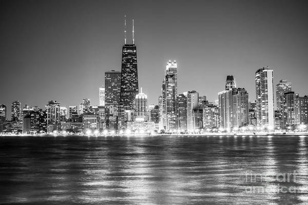 Chicago Black White Wall Art - Photograph - Chicago Lakefront Skyline Black And White Photo by Paul Velgos
