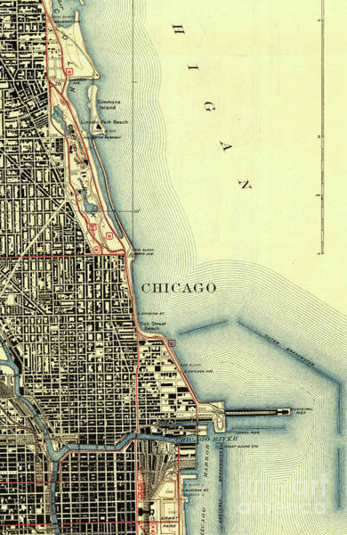 Vintage Chicago Drawing - Chicago Old Map by Drawspots Illustrations