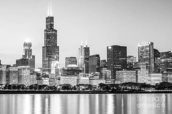 Chicago Skyline Black And White Photo Art Print