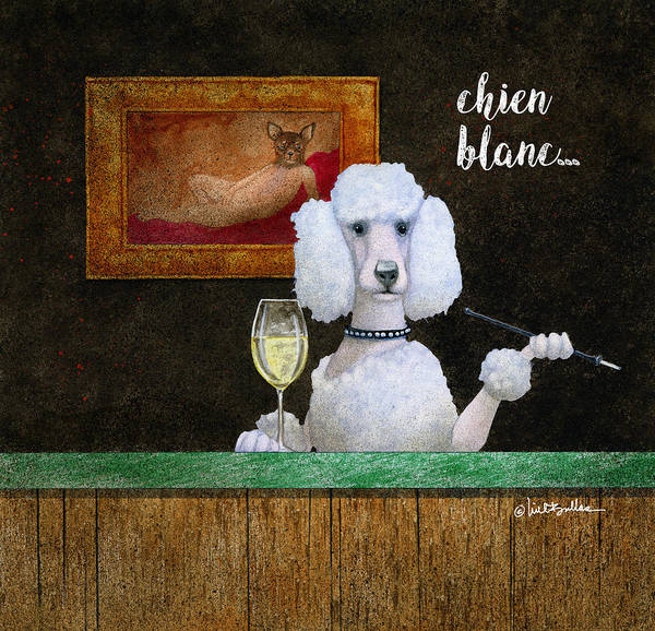 Poodle Wall Art - Painting - Chien Blanc... by Will Bullas