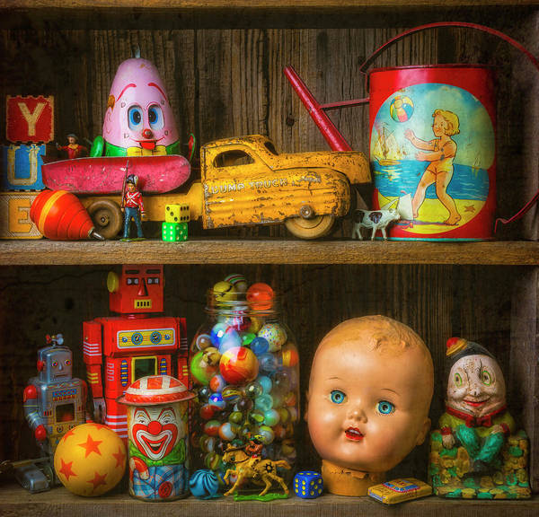 Dump Truck Photograph - Childhood Toys On Old Shelf by Garry Gay
