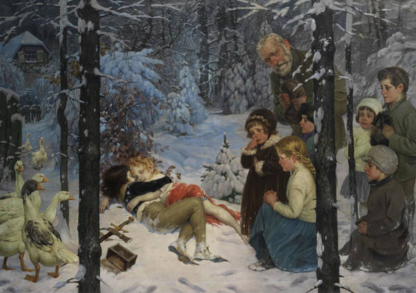 Brothers Painting - Children In The Snow by Richard Borrmeister