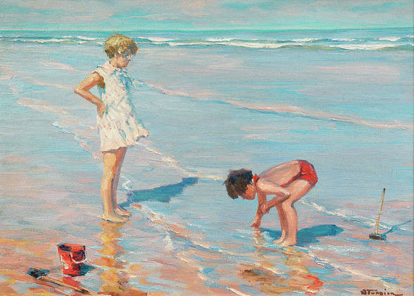 Sand Castle Painting - Children On The Beach by Charles Garabed Atamian
