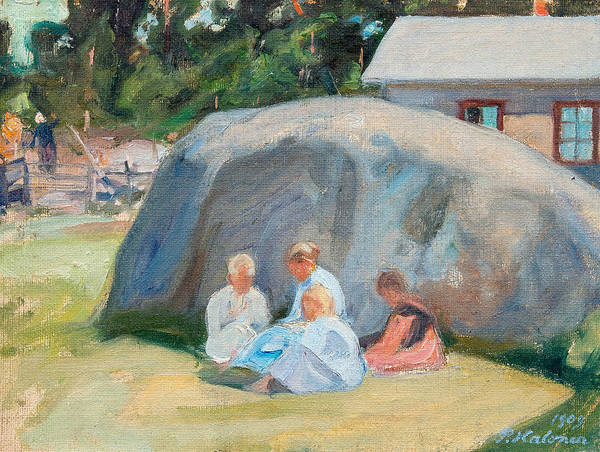 Painting - Children Playing In The Yard by Pekka Halonen