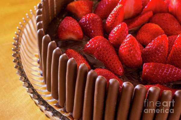 Glazed Wall Art - Photograph - Chocolate And Strawberry Cake by Carlos Caetano
