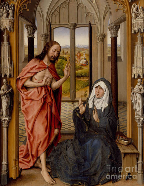 Triptych Wall Art - Painting - Christ Appearing To His Mother by Juan de Flandes