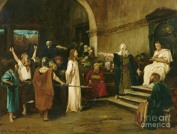 Judgement Wall Art - Painting - Christ Before Pilate by Mihaly Munkacsy