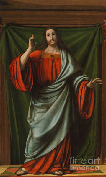 Man Of God Wall Art - Painting - Christ Blessing by Andrea Solario