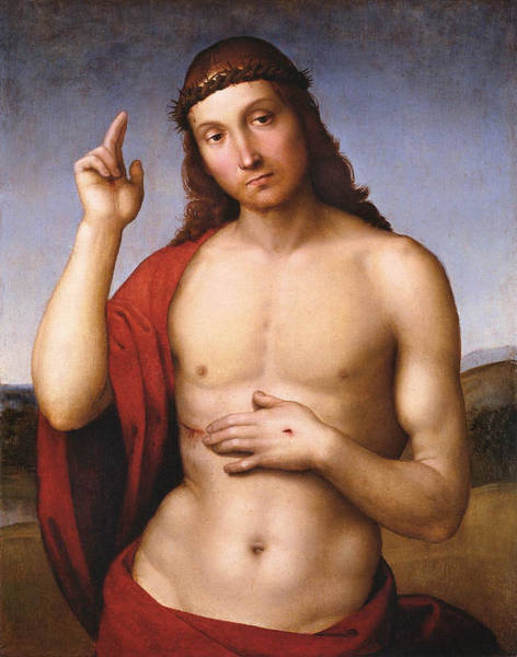 Redeemer Wall Art - Painting - Christ Blessing by Raffaello Sanzio