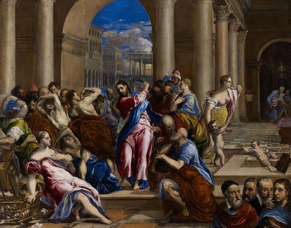 Renaissance Painters Wall Art - Painting - Christ Driving The Money Changers From The Temple by El Greco