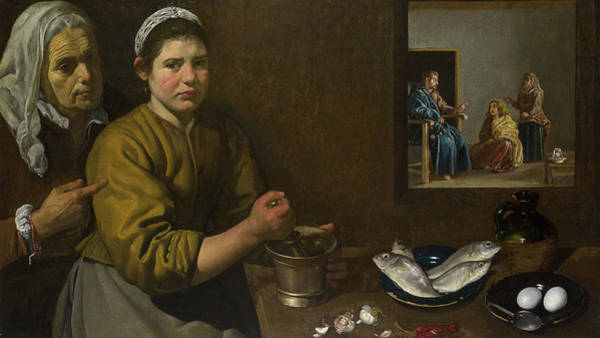 Redeemer Wall Art - Painting - Christ In The House Of Martha And Mary by Diego Velazquez