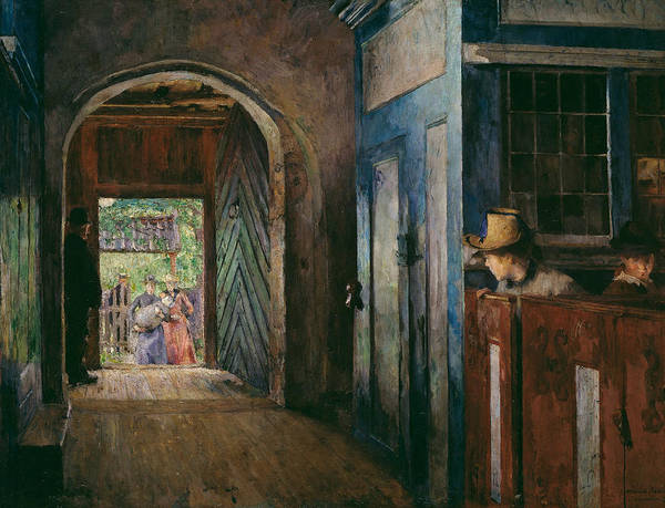 Painting - Christening In Tanum Church by Harriet Backer