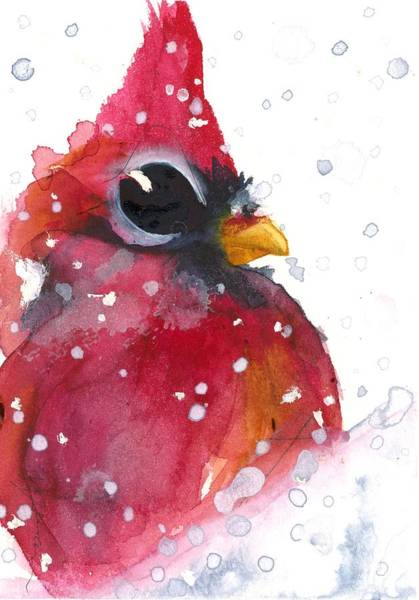 Painting - Snowy Cardinal by Dawn Derman
