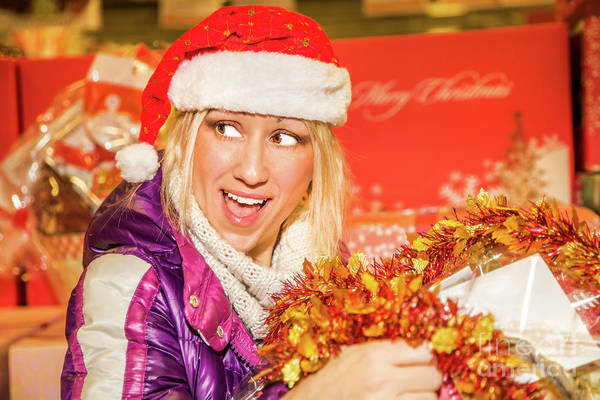 Photograph - Christmas Gift Woman Shopping by Benny Marty