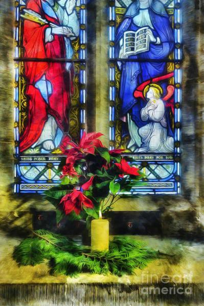 Mixed Media - Christmas Poinsettia by Ian Mitchell