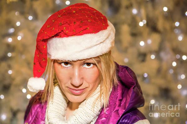 Photograph - Christmas Santa Woman by Benny Marty