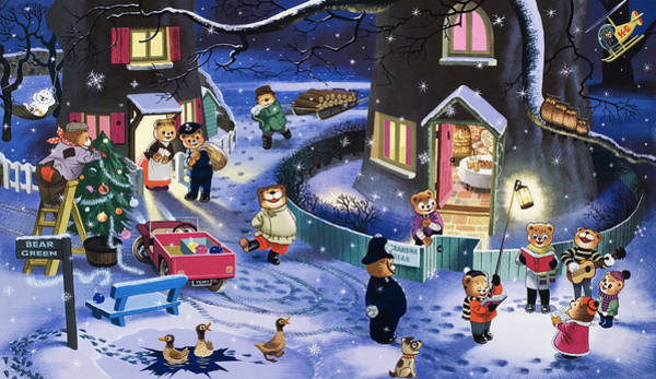 Teddy Bear Painting - Christmas Scene by English School