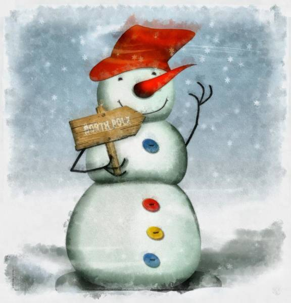 Wall Art - Painting - Christmas Snowman by Esoterica Art Agency