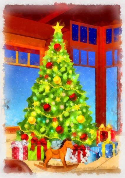 Wall Art - Painting - Christmas Tree by Esoterica Art Agency