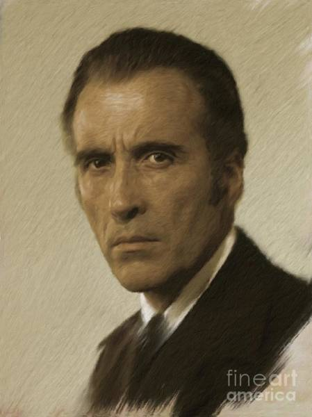 Dracula Painting - Christopher Lee, Vintage Actor by Mary Bassett