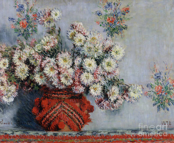 Signature Painting - Chrysanthemums by Claude Monet