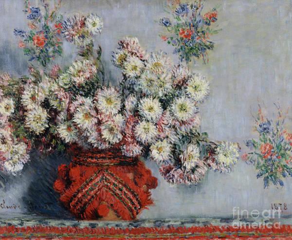 Tulip Bloom Painting - Chrysanthemums by Claude Monet