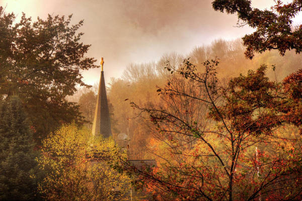 Photograph - Church Steeple In Autumn by Joann Vitali