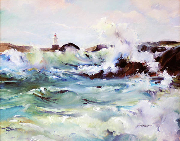 Wave Breaking Painting - Churning Surf by P Anthony Visco