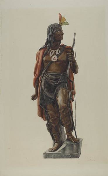 Wall Art - Drawing - Cigar Store Indian by Maurice Van Felix And Elizabeth Fairchild