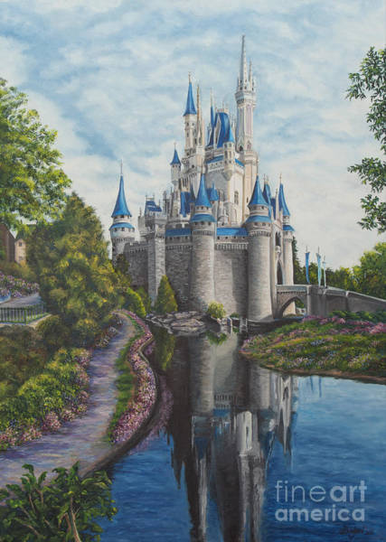Wall Art - Painting - Cinderella Castle  by Charlotte Blanchard