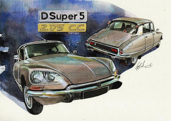 D.c Painting - Citroen D Super 5 by Yoshiharu Miyakawa