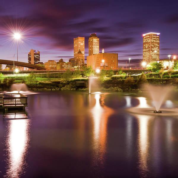 Best Photograph - City Lights - Tulsa Oklahoma Skyline At Night by Gregory Ballos
