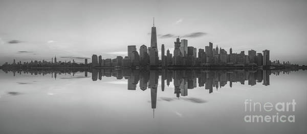 Nine Eleven Photograph - City Skyline Reflections Panorama by Michael Ver Sprill