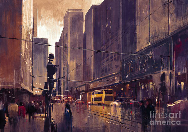 Art Print featuring the painting City Street by Tithi Luadthong