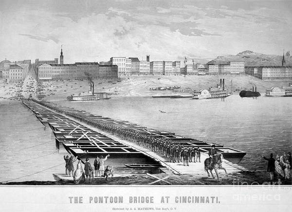 Mathew Photograph - Civil War: Pontoon Bridge by Granger