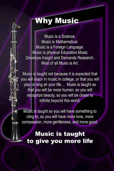 Photograph - Clarinet Why Music Picture Or Poster  4817.02 by M K Miller