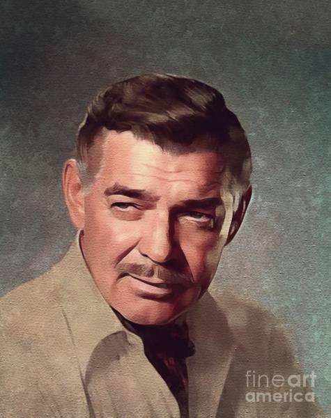 Clark Gable Wall Art - Painting - Clark Gable, Hollywood Legend by Mary Bassett