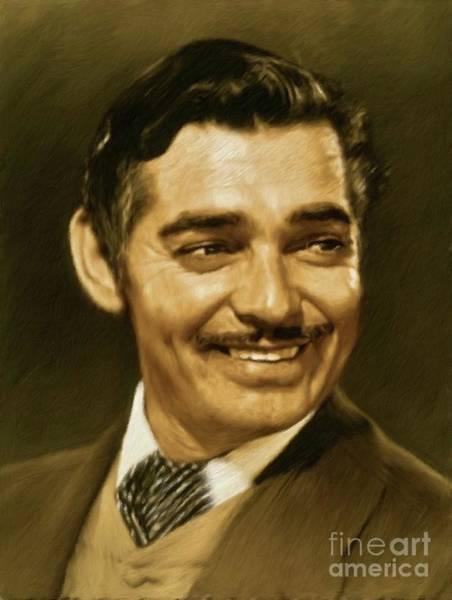Clark Gable Wall Art - Painting - Clark Gable, Vintage Actor by Mary Bassett