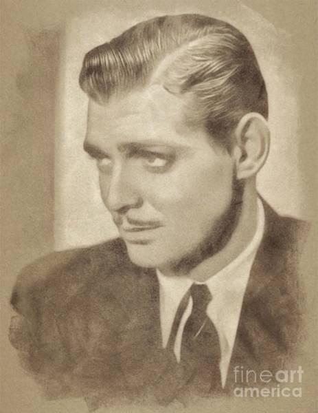 Pinewood Drawing - Clark Gable, Vintage Hollywood Actor By John Springfield by John Springfield