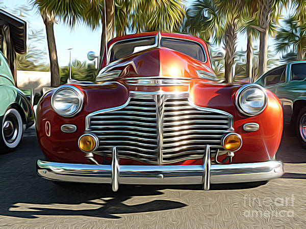 Hood Ornaments Digital Art - Classic Cars - 1941 Chevy Special Deluxe Business Coupe - Front End by Jason Freedman