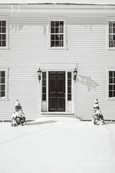White House Photograph - Classic New England Wood Framed Colonial Home In Winter by Edward Fielding