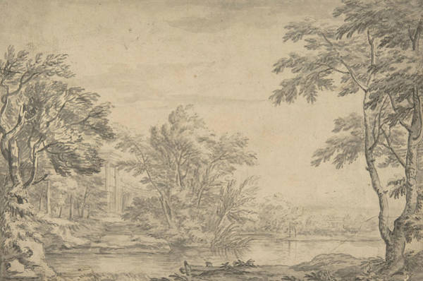 Wall Art - Drawing - Classical Landscape by George Lambert