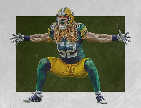 Green Bay Packers Wall Art - Mixed Media - Clay Matthews Green Bay Packers by Joe Hamilton